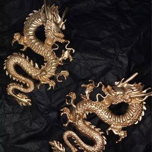 Dragon Gold Stud Earrings